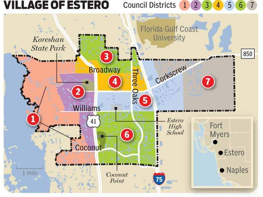 Coconut Point Florida Map.No Opposition Three Estero Village Council Incumbents Automatically