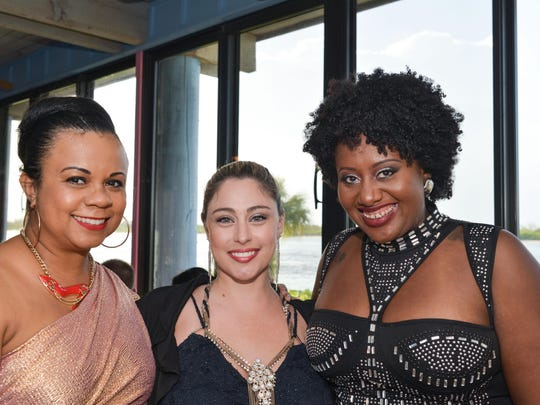 "2017 Dancer Gusti LaBatte-Deneau, 2016 Dancer Natasha Serra and Mya Auguste with Gems of the Treasure Coast attended the ""DRIVEN, the Ultimate Fashion & Automobile Extravaganza."""