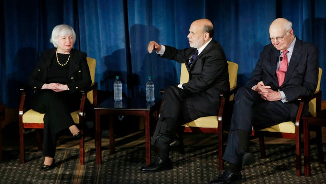 From left, Federal Reserve Chairman Janet Yellen and former chairs Ben Bernanke and Paul Volcker in April 2016.