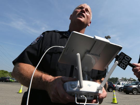 Clarkstown Police Department Officer Thomas Doyle operates