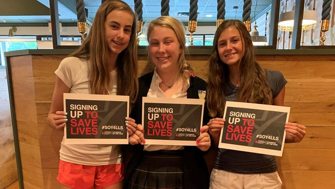 From left, Mattie Lynch, Caroline Ambos and E.B. Threlkeld, rising 10th graders at St. Vincent's Academy, earned the Students of the Year award for raising $65,213 for the Lymphoma and Leukemia Society in Savanah.