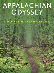 "Pictured is the ""Appalachian Odyssey: A 28-year Hike on America's Trail"" book cover."