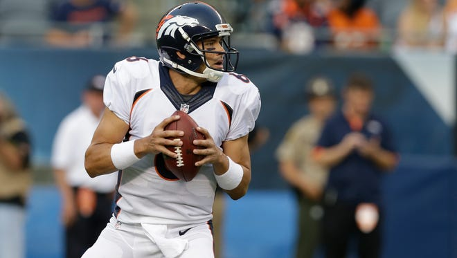 Denver Broncos quarterback Mark Sanchez (6) during the first half of an NFL preseason football game against the Chicago Bears in Chicago, Thursday, Aug. 11, 2016. (AP Photo/Michael Conroy)