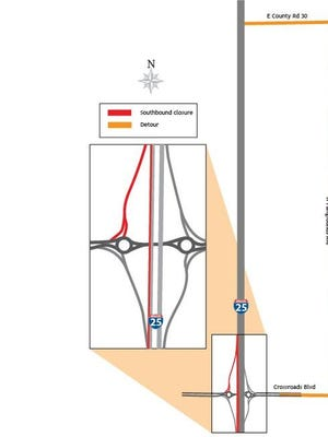 CDOT crews will be moving southbound Interstate 25 traffic to new Crossroads Boulevard bridge on Wednesday.