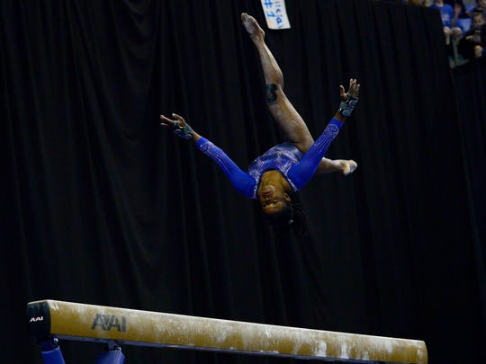 Florida gymnast Alicia Boren performing on the beam during the 2017 NCAA Women's Gymnastics Championships.