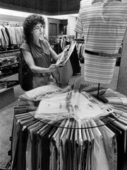 April 1979: Barbara Aguglia shops at McFarlin's.