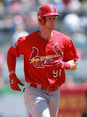 St. Louis Cardinals right fielder Jeremy Hazelbaker runs around the bases as he hit a 3-run home run during the fifth inning March 31 in a Spring Training game against the New York Yankees at George M. Steinbrenner Field.