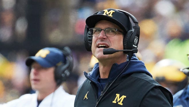 Michigan coach Jim Harbaugh on the sideline during the first half against Rutgers at Michigan Stadium, Saturday, Oct. 28, 2017.