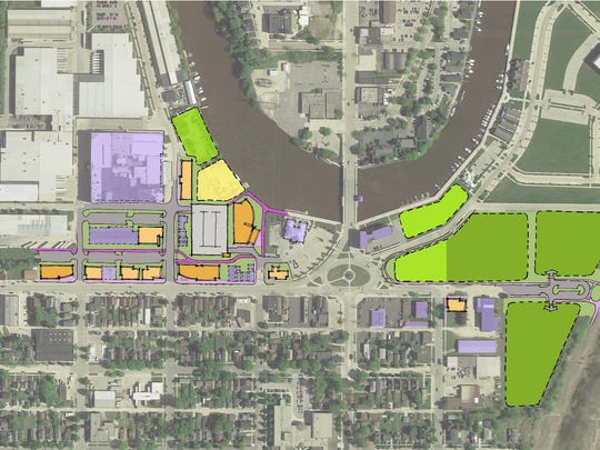 Innovation District potential layout along Indiana Avenue in Sheboygan
