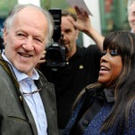"Director Werner Herzog, left, greets Chaz Ebert, widow of film critic Roger Ebert, on Thursday at the premiere of the documentary film ""Life Itself"" in Los Angeles."