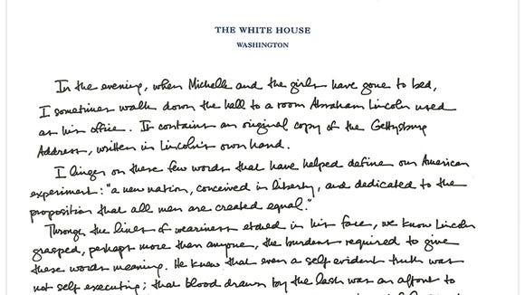 Essay Paper Help President Obamas Tribute To The Gettysburg Address Photo The White House Essay On Science And Religion also Essay For High School Application Obama Makes Handwritten Tribute To Gettysburg Address Spm English Essay