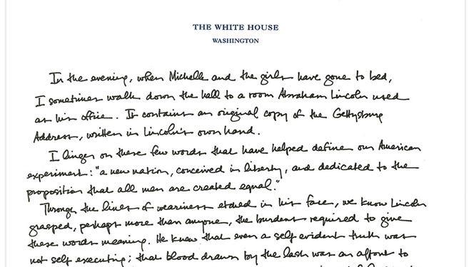 President Obama's tribute to the Gettysburg Address
