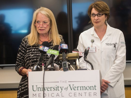 From left, UVM Medical Center President Eileen Whalen and Chief Medical Officer Dr. Isabelle Desjardins hold a news conference at the hospital on Thursday afternoon, July 12, 2018, after hundreds of their nursing staff walked out on strike that morning. President Whalen and Dr. Desjardins said that, although there have been a few small set backs caused by the strike, both patient care and safety were being maintained.