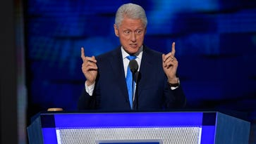 Former President Bill Clinton speaks on stage during the 2016 Democratic National Convention in Philadelphia.