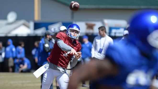Redshirt freshman QB Drew Barker during the Kentucky football scrimmage on Saturday, April 11, 2015.