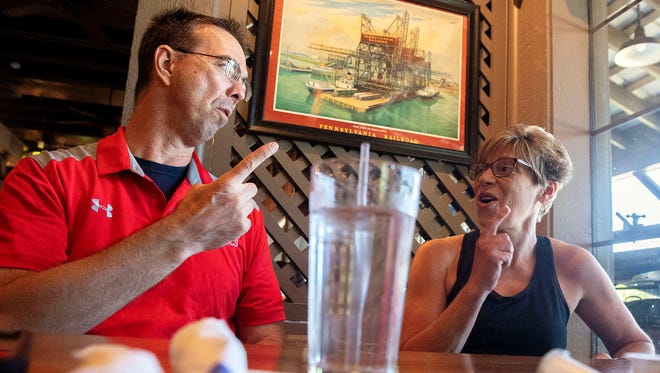 Marty Ness, left, and his wife, Dawn, speak about their son at a local Cracker Barrel restaurant, Friday, June 15, 2017. Their son, Lance, is currently over halfway through hiking the Appalachian Trail. Lance quit a six-figure job and began hiking in March.