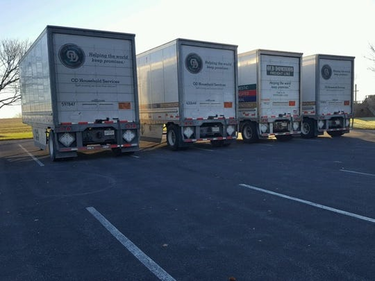 Trailers staged in the parking lot of Gingrich's Mennonite Church. The trailers were filled by the end of November with thousands of gift-filled shoeboxes for Operation Christmas Child, a program meant to bring Christmas cheer to needy children around the world.