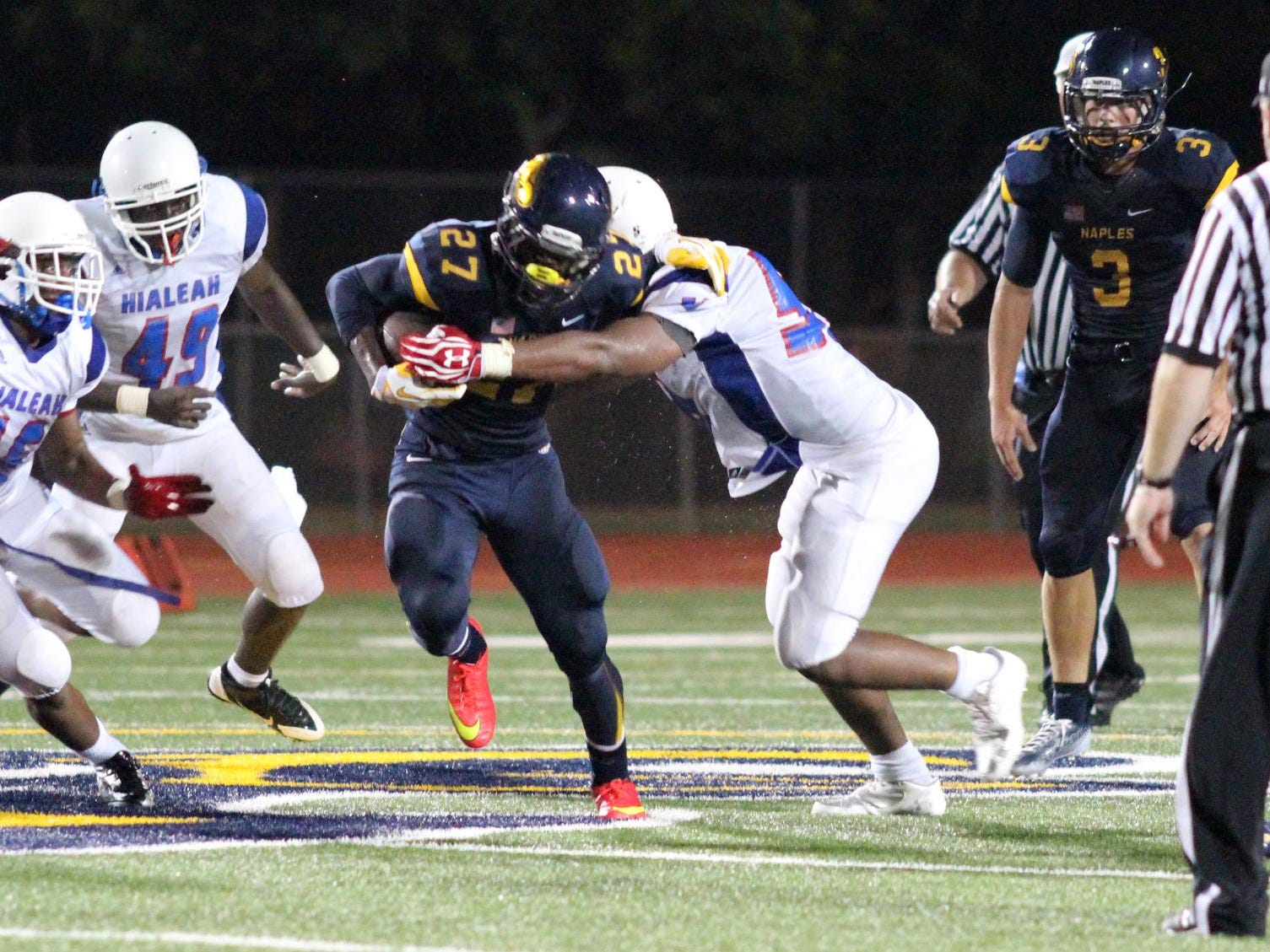 Naples running back Carlin Fils-Aime verbally committed to Tennessee Thursday.