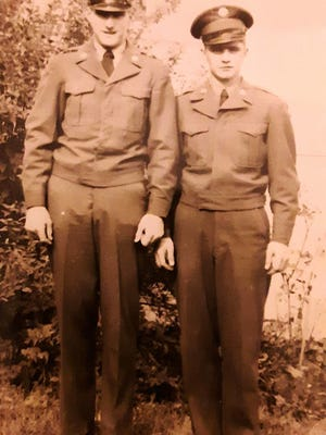 "Edward W. Maynard, left, and John ""Jack"" Kelleher together in Worcester in late fall, 1949, one of the last times they saw each other."