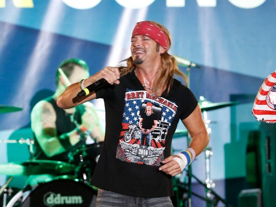 Musician Bret Michaels performs a concert following a baseball game between the Tampa Bay Rays and the Baltimore Orioles, Saturday, July 16, 2016, in St. Petersburg, Fla.