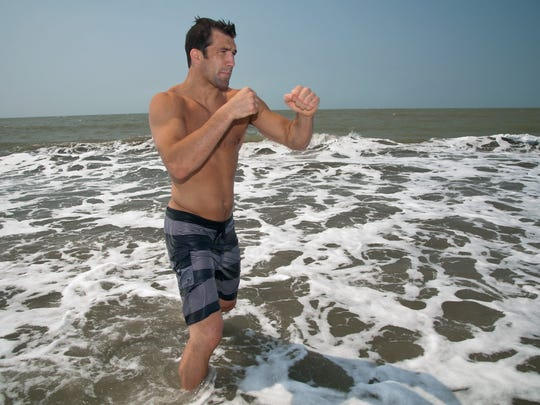 Luke Rockhold poses during a photo session in Cartagena, Colombia, in February 2014.