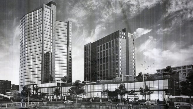 A rendering of a proposed new mixed-use development by RXR Development Services in Larkin Plaza, is part of the ongoing development in downtown Yonkers.