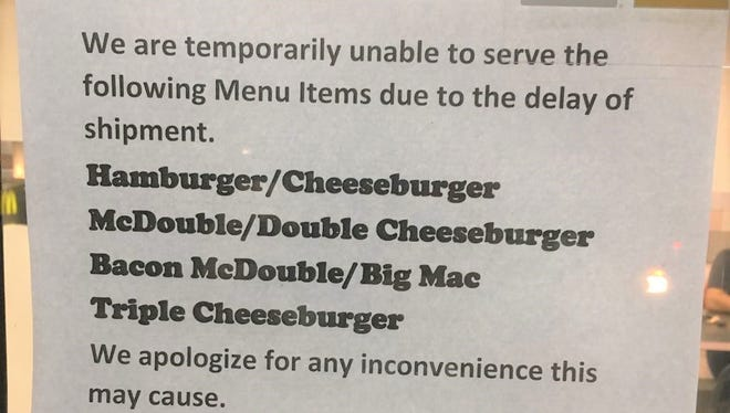 A sign outside of the Hagatna McDonald's Feb. 8 informed diners about shipping problems