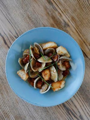 The clams with smoked pork bellies at Fontleroy's restaraunt. Sept. 15, 2015.