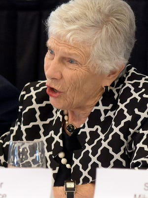 In this file photo, state Sen. Pat Vance asks a question of panelists during a public hearing on heroin addiction at the Yorktowne Hotel Tuesday, Aug. 18, 2015.