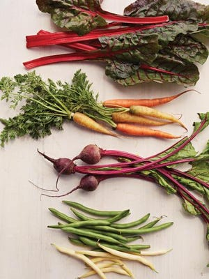 (From top to bottom) SWISS CHARD: Sow to harvest: 60 to 75 days. CARROTS: Sow to harvest: 70 to 95 days. BEETS: Sow to harvest: 55 to 80 days. BUSH BEANS: Sow to harvest: 60 to 70 days (won't survive a frost).