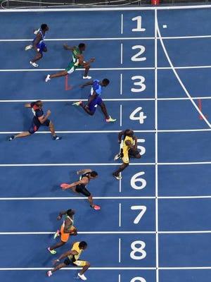 ; Rio de Janeiro, Brazil;  Usain Bolt (JAM) wins the men's 100m final in the Rio 2016 Summer Olympic Games at Estadio Olimpico Joao Havelange. Justin Gatlin finished second.