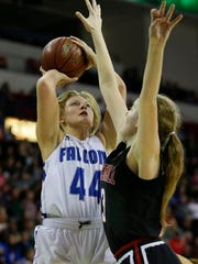 Amherst's Heather Pearson shoots during the Division 3 championship game at the WIAA state girls basketball tournament Saturday at the Resch Center in Ashwaubenon.