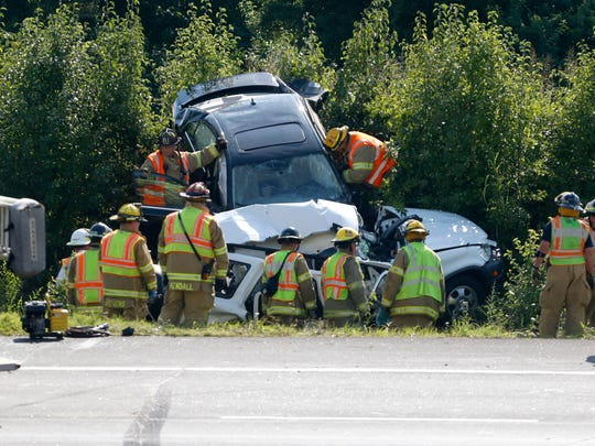 Springfield police say two people were killed during a rush hour crash at the intersection of West Bypass and Battlefield Road on Tuesday, July 28, 2015.