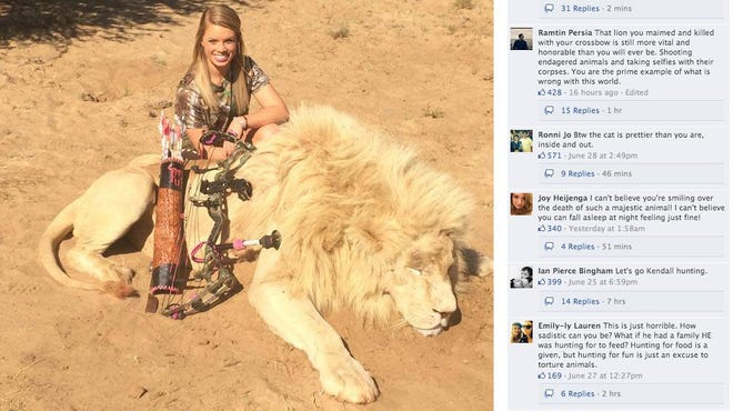 Kendall Jones poses with a lion.
