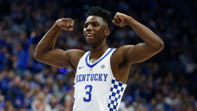 Hamidou Diallo, No. 3 of the Kentucky Wildcats, reacts after a basket against the Florida Gators at Rupp Arena on January 20, 2018 in Lexington, Kentucky.