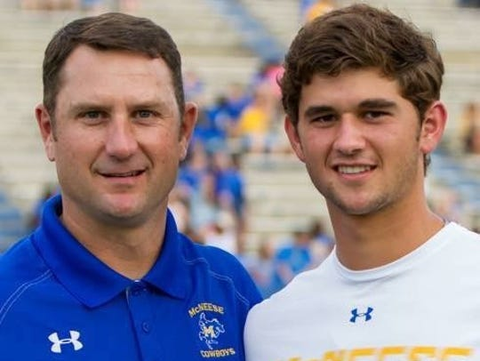 New UL football assistant coach Tim Leger with his son, Cajuns pitcher Gunner Leger, during his days as a McNeese State assistant coach.