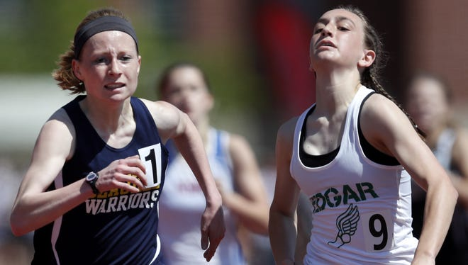 Edgar's Marissa Ellenbecker, right, won three events during the Marawood Conference South Division outdoor track meet last Monday.