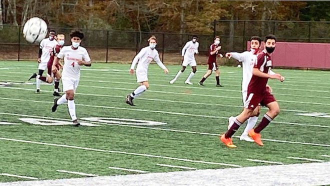 Barnstable junior Jayson Costa (4) moves toward the ball in the squad's recent 0-0 tie at Falmouth.