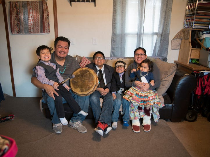 The Bennallie family at home in Fort Defiance, Arizona,