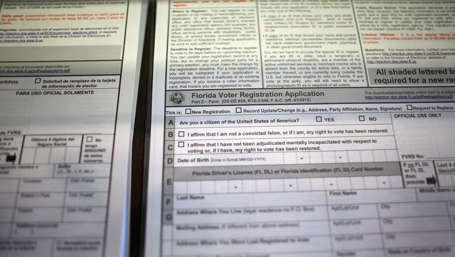 A Florida Voter Registration Application sits at the Miami-Dade Elections Department on October 1, 2012 in Miami, Florida.