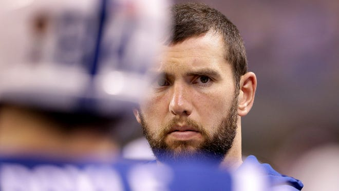 Indianapolis Colts quarterback Andrew Luck (12) in the bench area in the second half of their game Thursday, November 24, evening at Lucas Oil Stadium. The Indianapolis Colts lost to the Pittsburgh Steelers 28-7.