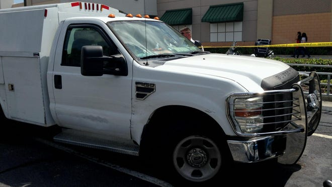 According to a sheriff's office traffic report, this white, 2008 Ford F350 was being driven south through the Market Square parking lot by Alexandra Montiel, 75, of Fort Myers, when she turned west toward U.S. 41 and hit Wilma Thomas, 79, of North Fort Myers.