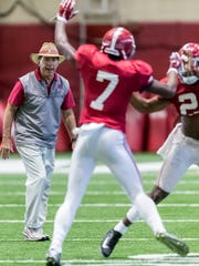 Alabama head coach Nick Saban works with his players during football practice, Wednesday, Dec. 20, 2017, at the Hank Crisp Indoor Facility in Tuscaloosa.