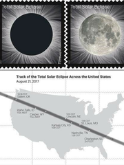 U.S. Postal Service Forever Stamp of the solar eclipse.
