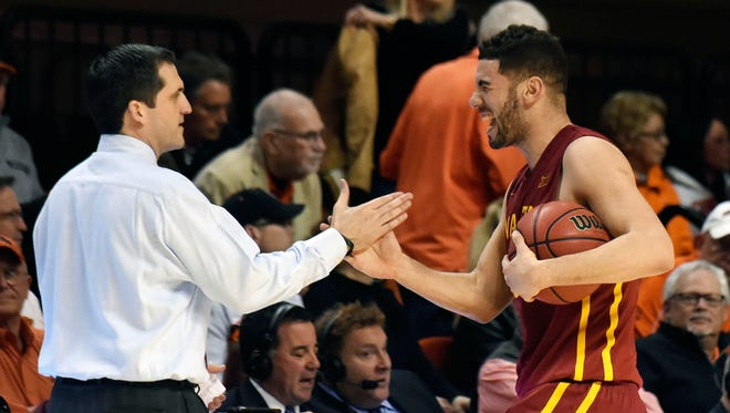 Iowa State guard Georges Niang, right, celebrates with head coach Steve Prohm following an NCAA college basketball game in Stillwater, Okla., Saturday, Feb. 6, 2016. Niang led Iowa State scoring with 18 points in the 64-59 win over Oklahoma State