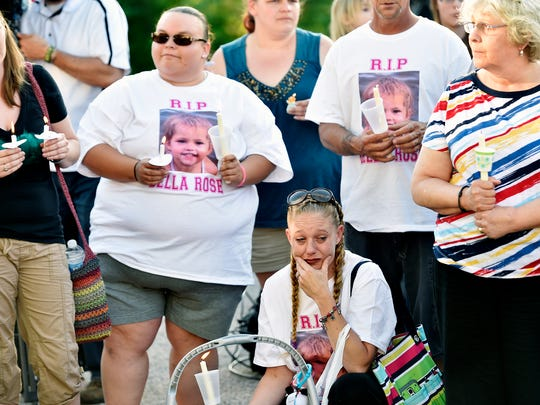 Friends and residents gathered June 10, 2016, for a vigil to remember 3-year-old Isabel Godfrey at the Chesapeake Estates mobile home park in Jackson Township. Godfrey was killed by her mother, Regina Lester, who pleaded guilty but mentally ill Wednesday to third-degree murder.