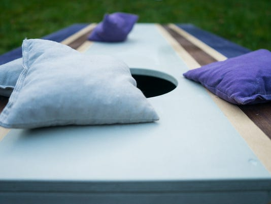 Purple Cornhole Bean Bag Toss Game