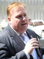 New York City Councilman Dan Halloran, arrested by the FBI. The photos were shot Sept. 1, 2011, near the Freedom Tower.