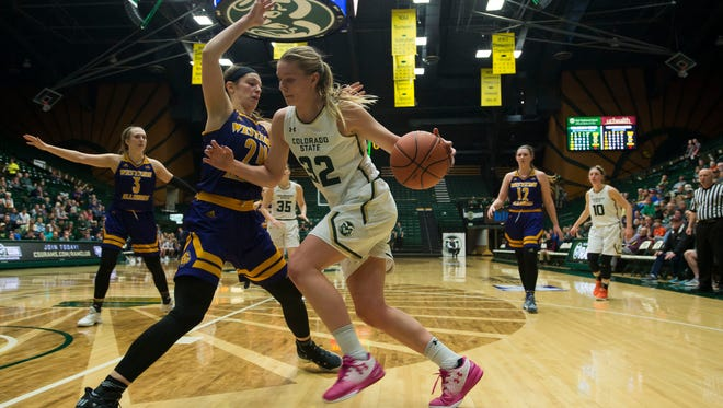 Annie Brady, shown driving against a Western Illinois defender during a WNIT game March 15, 2018, at Moby Arena, and her CSU women's basketball teammates will play a home game at 7 p.m. Tuesday at Moby Arena against the University of Northern Colorado.