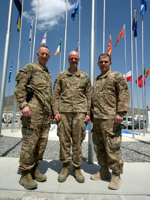 Three colonels from Dutchess County found themselves stationed together this year in Kabul, Afghanistan, as part of Operation Enduring Freedom. From left, Col. Timothy Watson, Col. Gordon Richardson and Col. Kevin Arata.